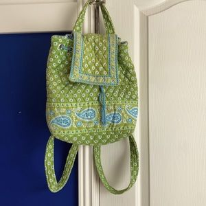 Vera Bradley small backpack green and blue